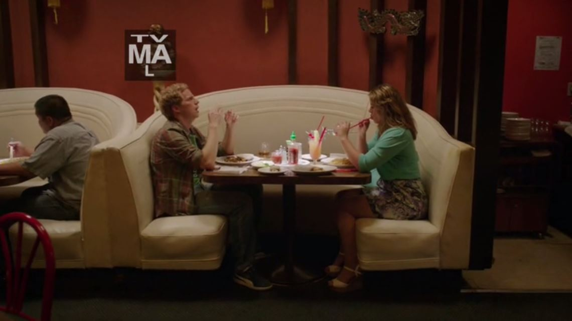 You're The Worst - A restaurant where the cute/cubby character continues to eat a monstrous amount of food.