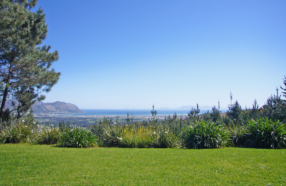 The view of the ocean from Lalapanzi's Main Lodge – Gordon's Bay to the left and Cape Point in the distance