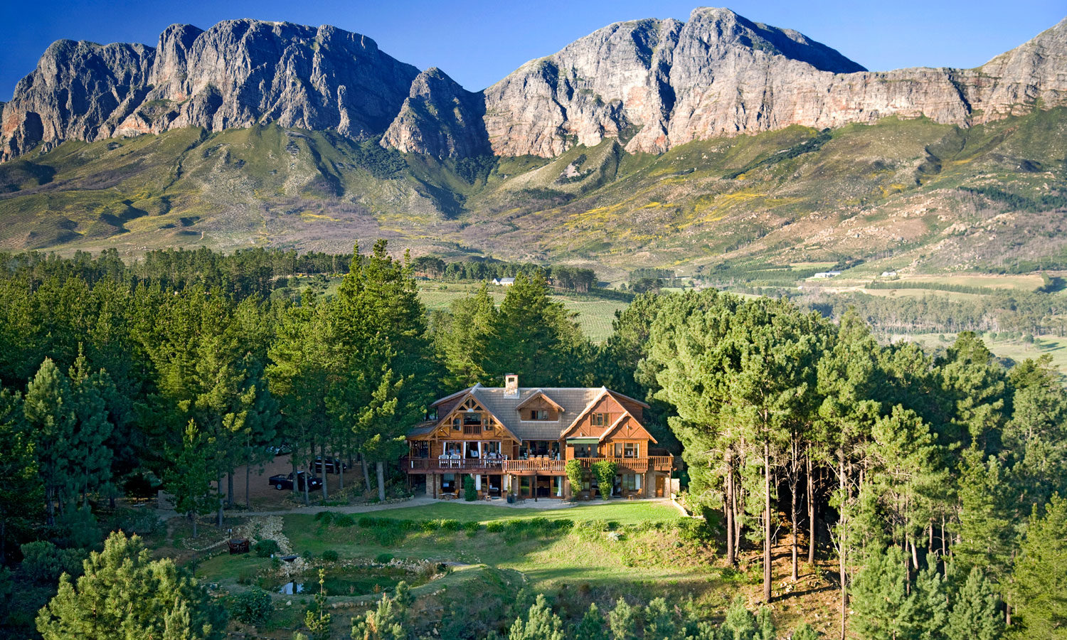 The main Lodge surrounded by 260 ha of forest, fynbos and vineyards