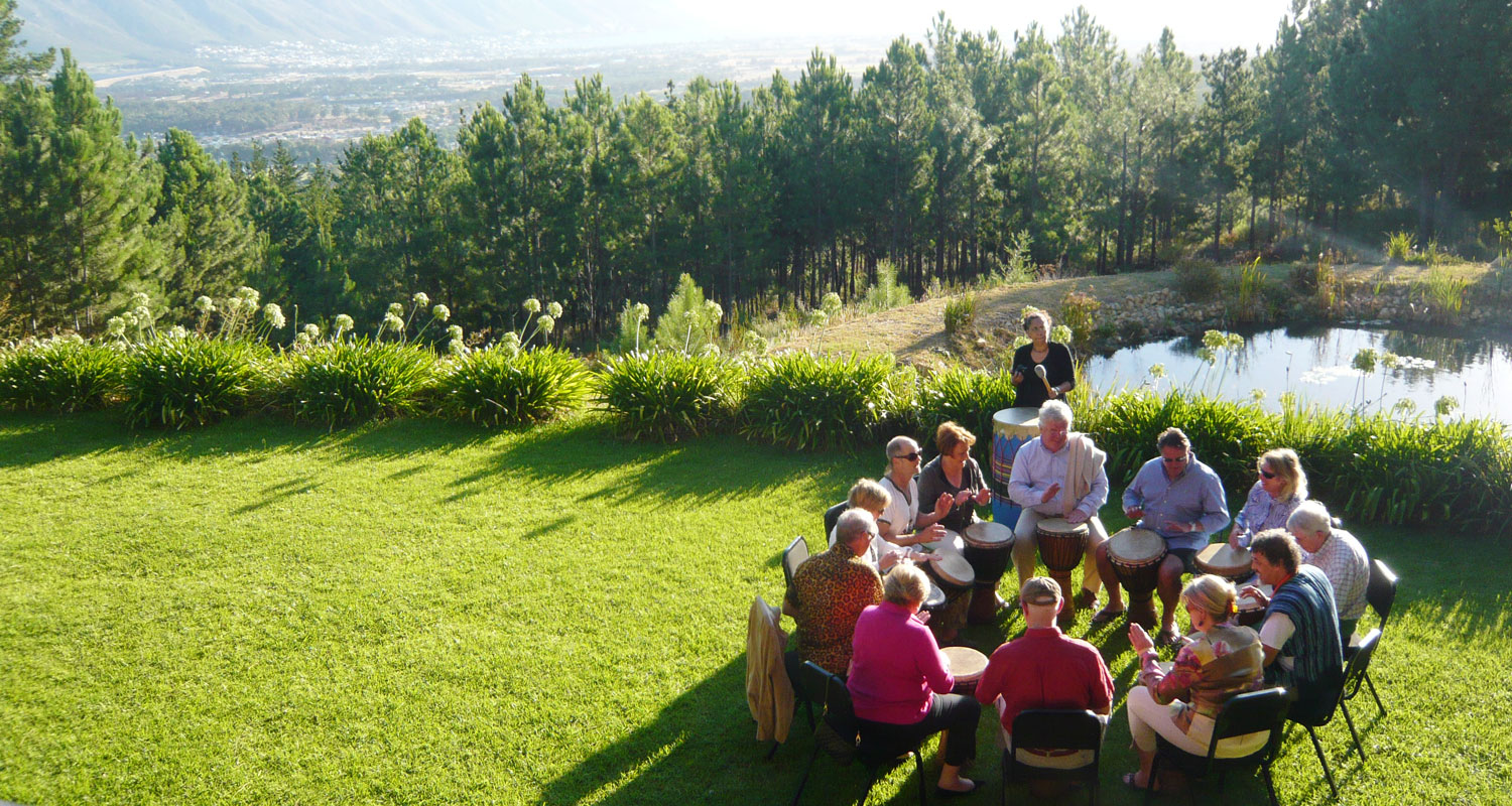 The conference room opens up on to the lawn with views over False Bay