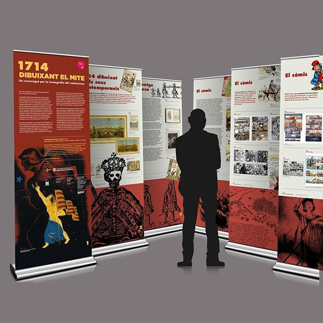 "Exhibition. ""1714. Dibuixant el Mite. Un recorregut per la iconografia del catalanisme""  Traveling exhibition for the Public Libraries of Catalonia, within the program of the Tricentenari 1714-2014  Client: Department of Culture (Libraries Service) of the Generalitat de Catalunya  Project: Tantatinta  Art Direction, Graphic design and Production: Ars Satèl·lit Year: 2014  #20yearsarssatellit  #graphicdesign #design #exhibitiondesign #exhibition #1714 #1714dibuixantelmite"