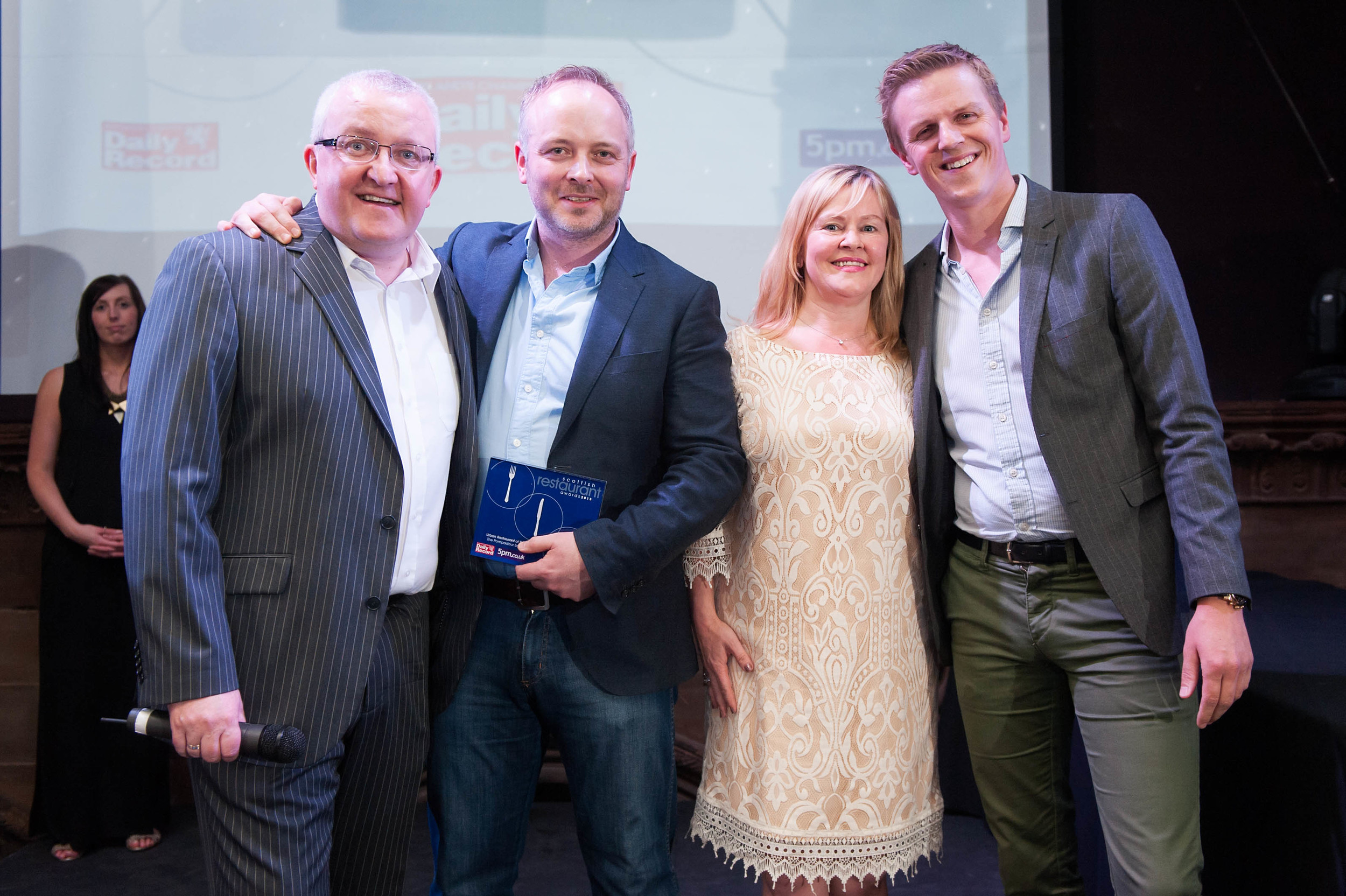 Picture shows Tam Cowan (host), Craig Sandle (executive chef, The Pompadour by Galvin), Denise West (Daily Record, award category sponsor) and Peter Adshead (sommelier, The Pompadour by Galvin). The event was held in Edinburgh atGhillie Dhu onTuesday 4 June 2013.