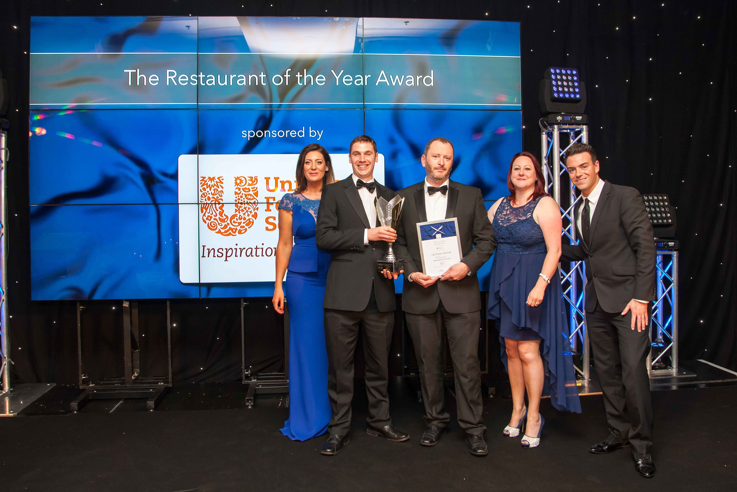 Head Chef Joe Simpson and Chef Director Neil Forbes collecting the award