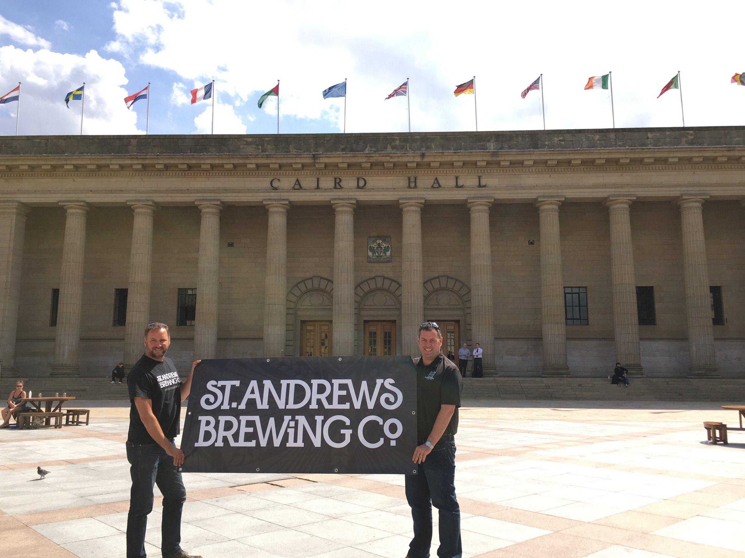 St Andrews Brewing Co Tim Butler and Phil Mackey outside the Caird Hall.JPG