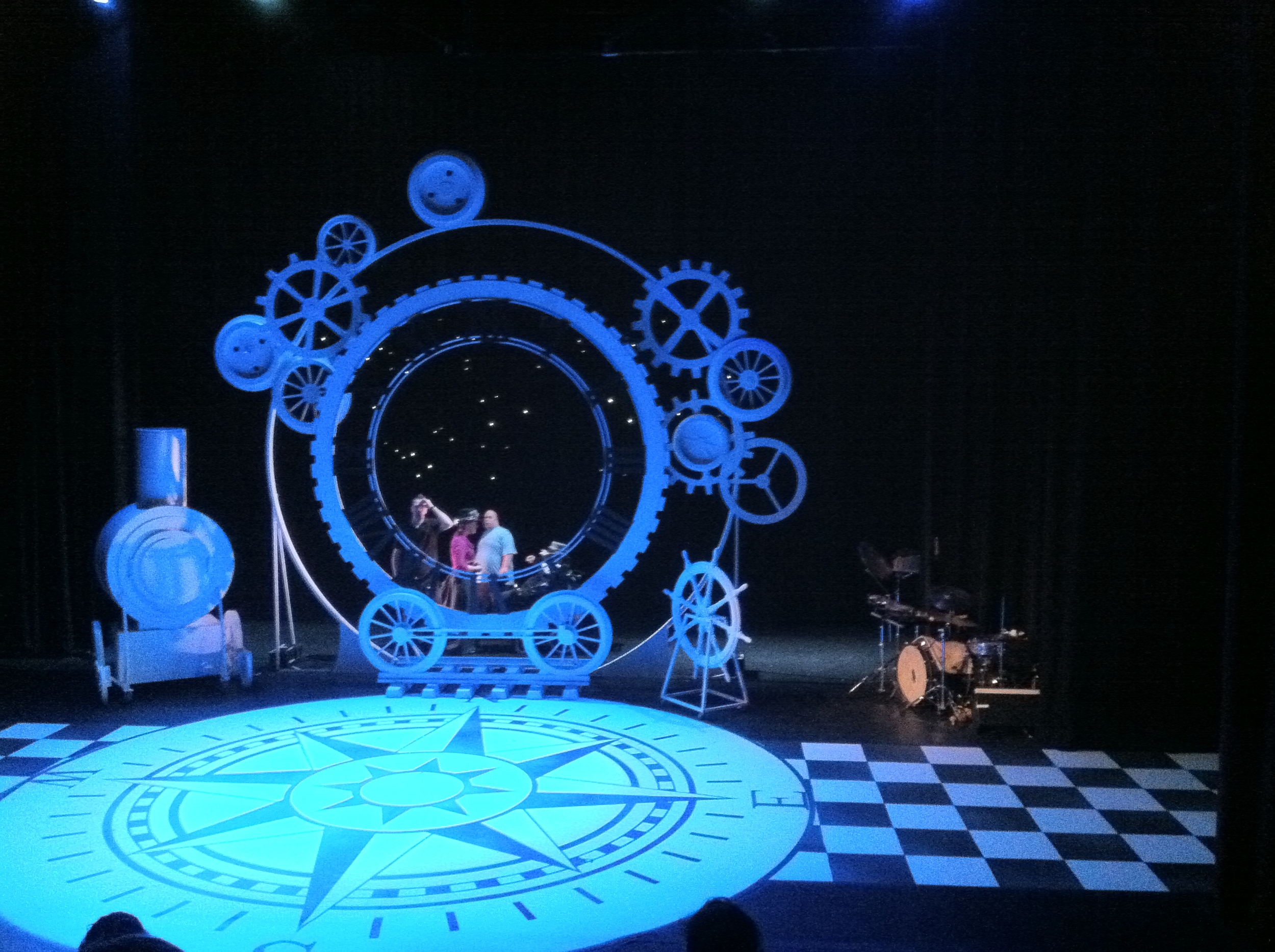 Performing to original music and sound design for Around the World in 80 Days by Lung Has Theatre Company in 2011 at The Traverse Theatre Edinburgh