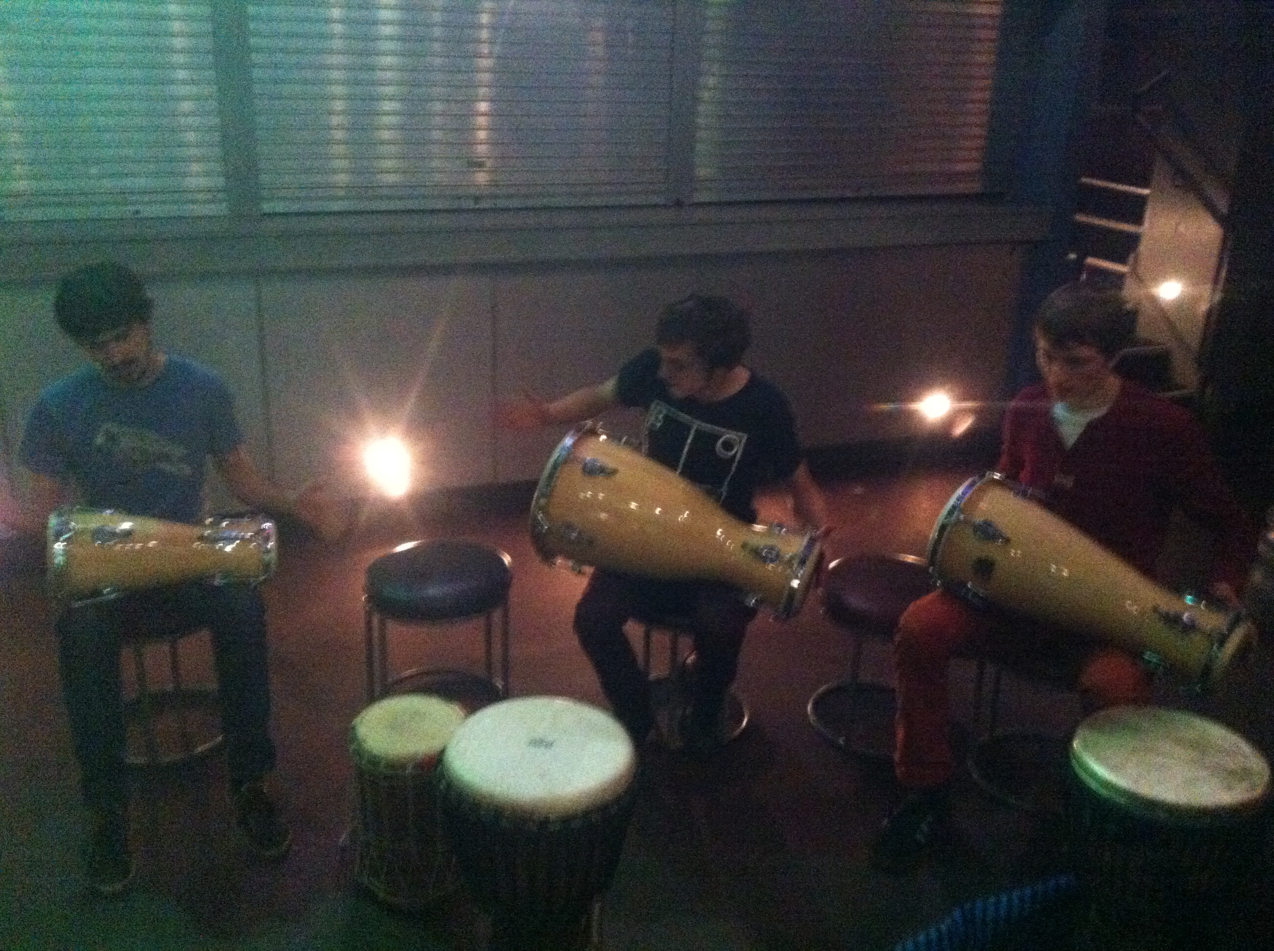 Bata time! Intermdiate/improvers 6 week course leads to looking at Afro-Cuban and Afro-Brazilian styles, and a healthy blast of djembe rhythms and skills, but this was all about exploring a 6/8 fusion...some great players that year ;-)