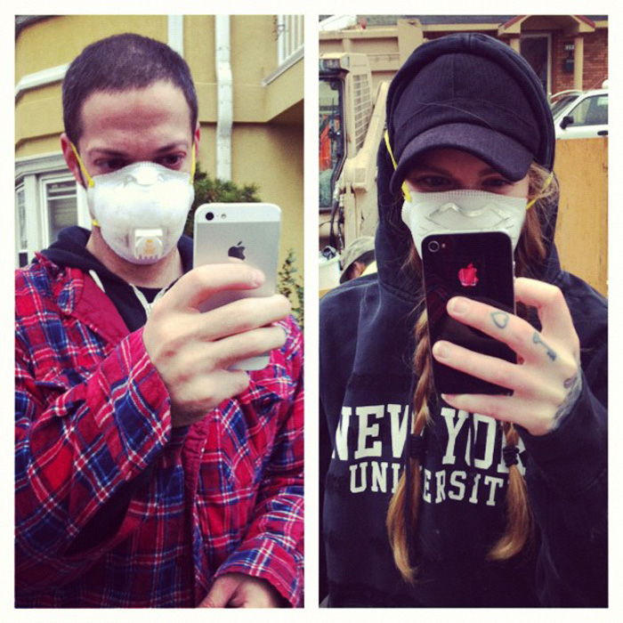 Mask fashion and iPhones.