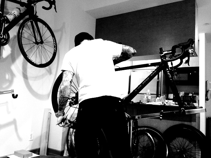 Rog hard at work building my mini bike. Although I'm more than willing and eager to help, I still don't quite possess the know-how to do much more than sit on the couch and document.