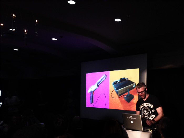 """New friend James White (aka  SignalNoise ) delivering one of the most awesome, high energy, high-fun talks I've ever seen, titled """"Process Destroy."""""""