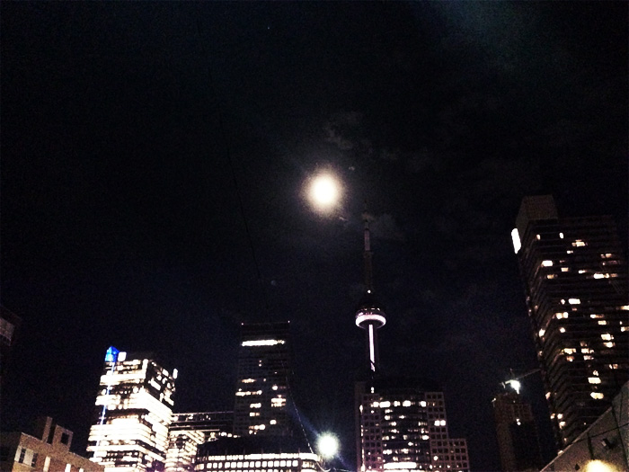 Last night in Toronto, wandered around briefly and sang sonnets to the full moon, perched on top of downtown like a Christmas tree star.