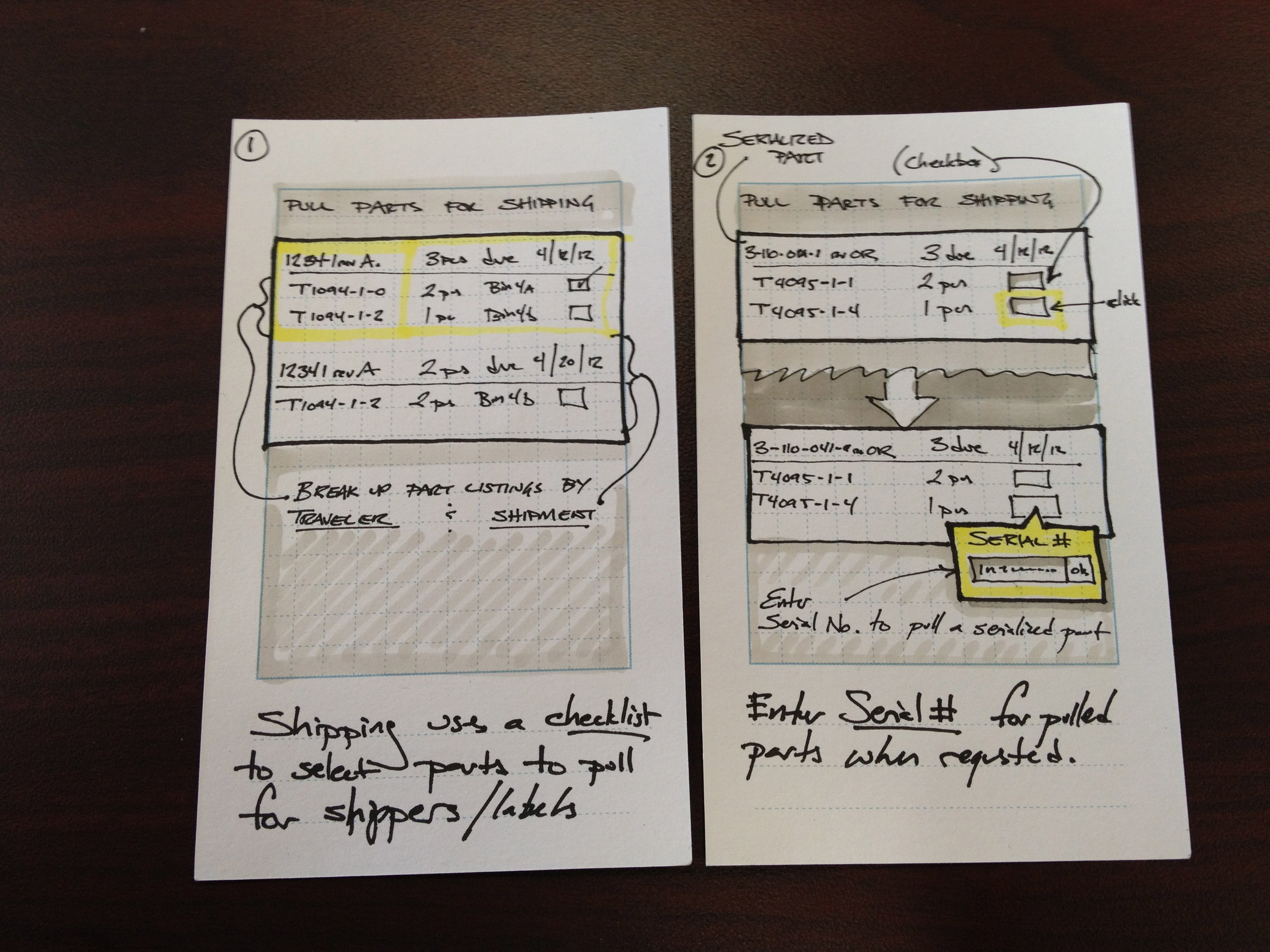 Rapid storyboarding on index cards: for very simple interactions, sketched thumbnail details of each stage of the story. Purpose: communicate a scenario  very early  in the process in order to get stakeholder feedback.