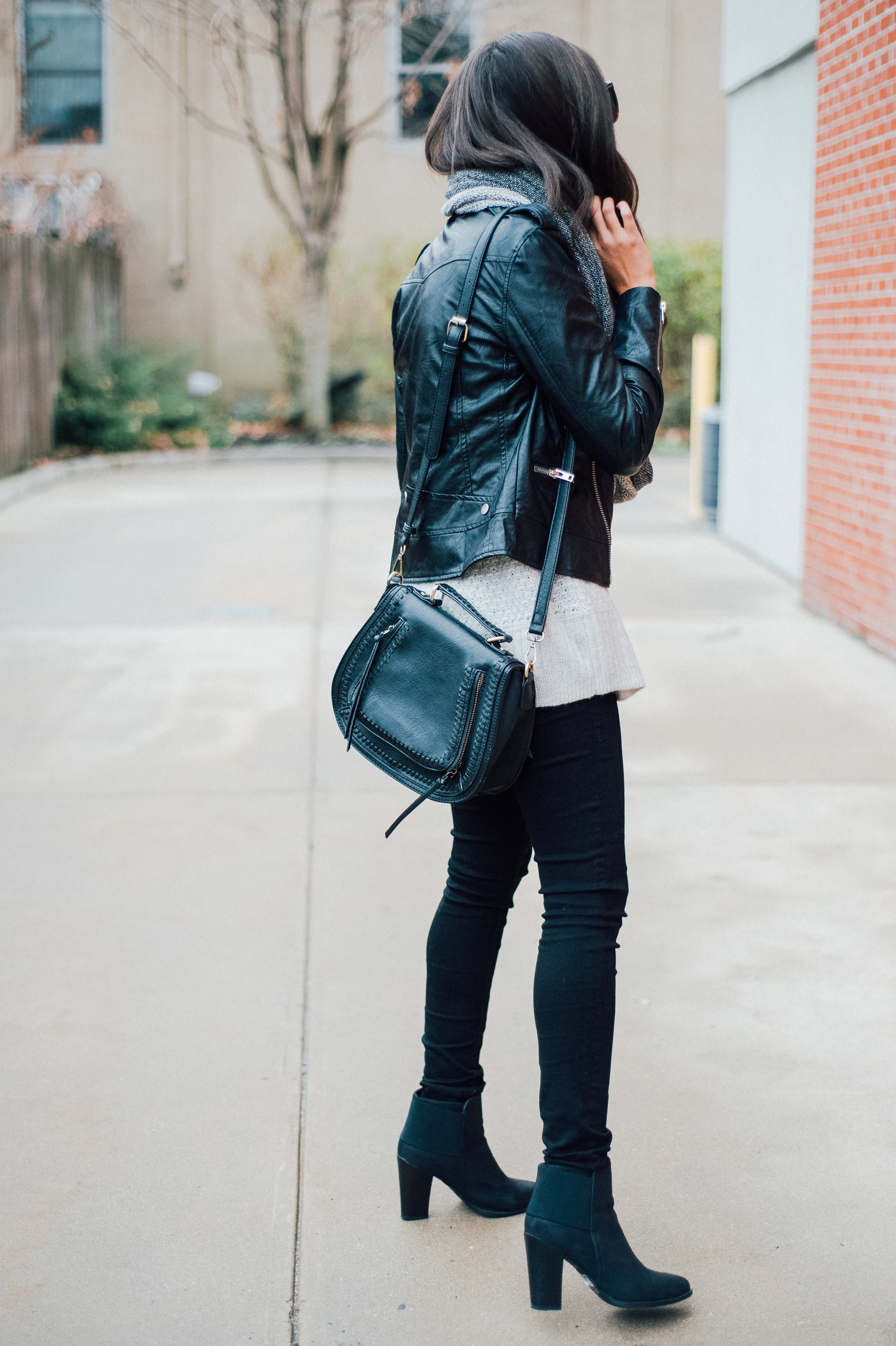 Black Faux Leather Jacket + Grey Infinity Scarf 25.jpg