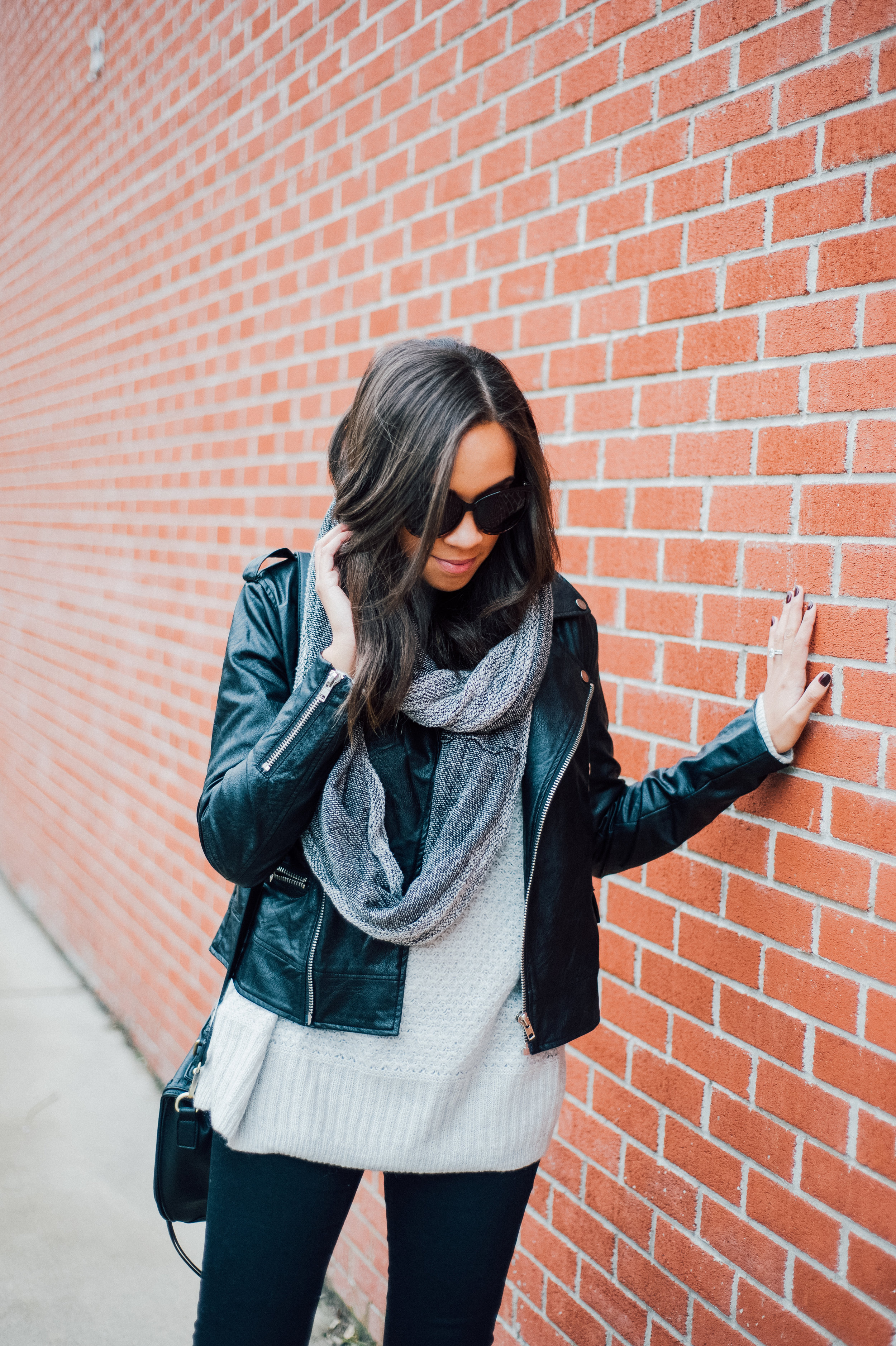 Black Faux Leather Jacket + Grey Infinity Scarf 18.jpg