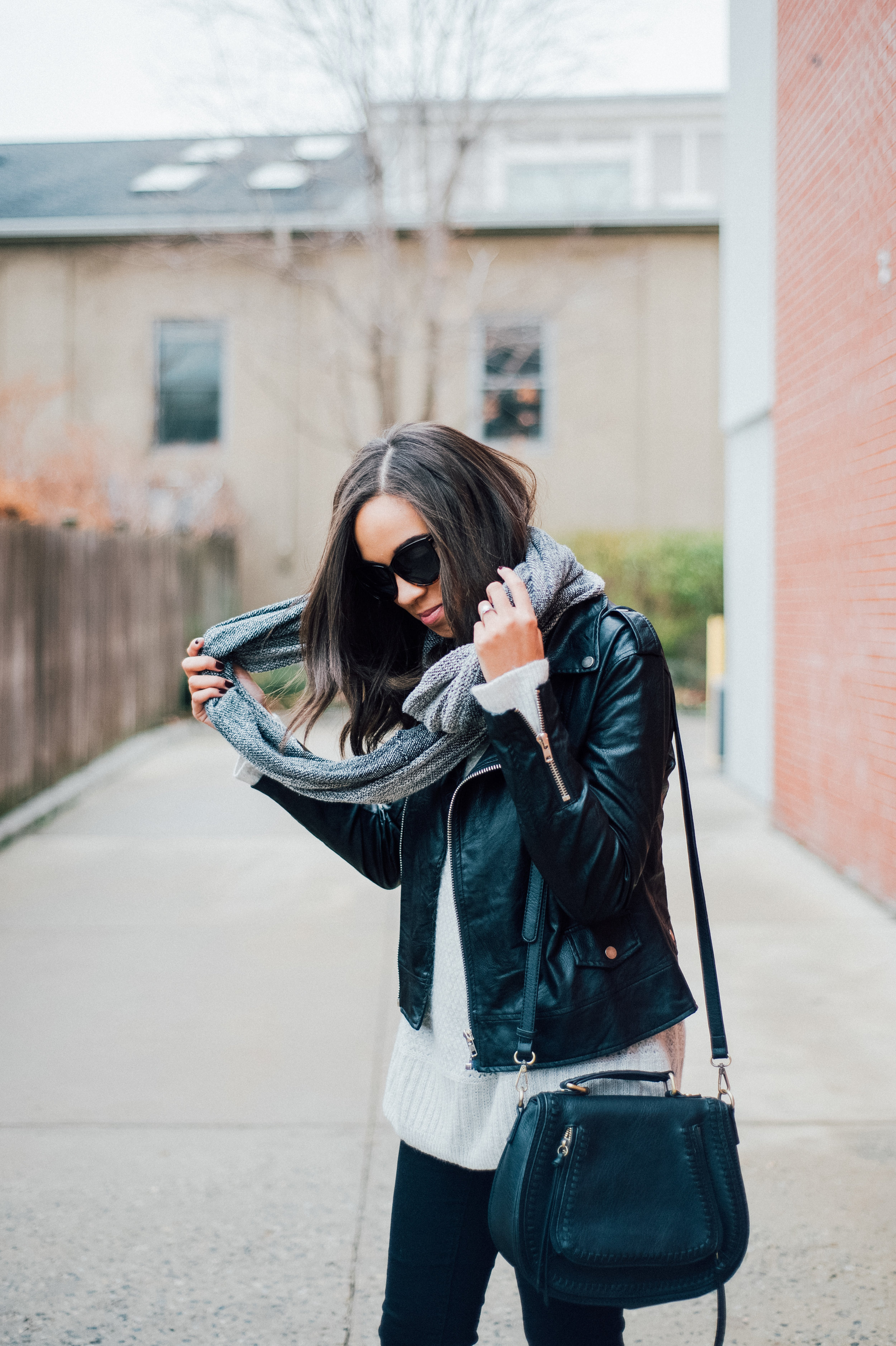 Black Faux Leather Jacket + Grey Infinity Scarf 10.jpg