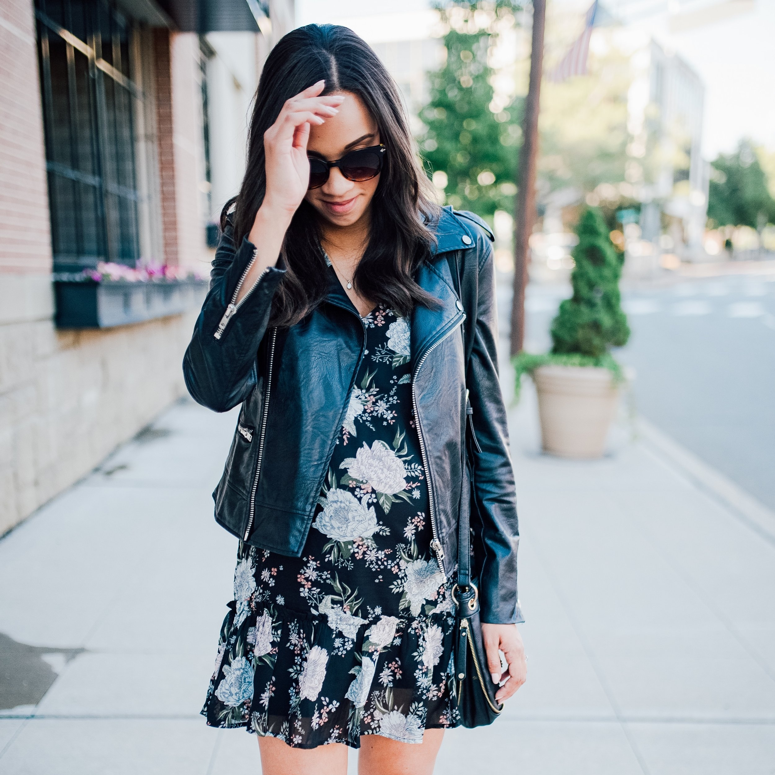 Faux Leather + Floral Dress + Maternity Style 9.jpg