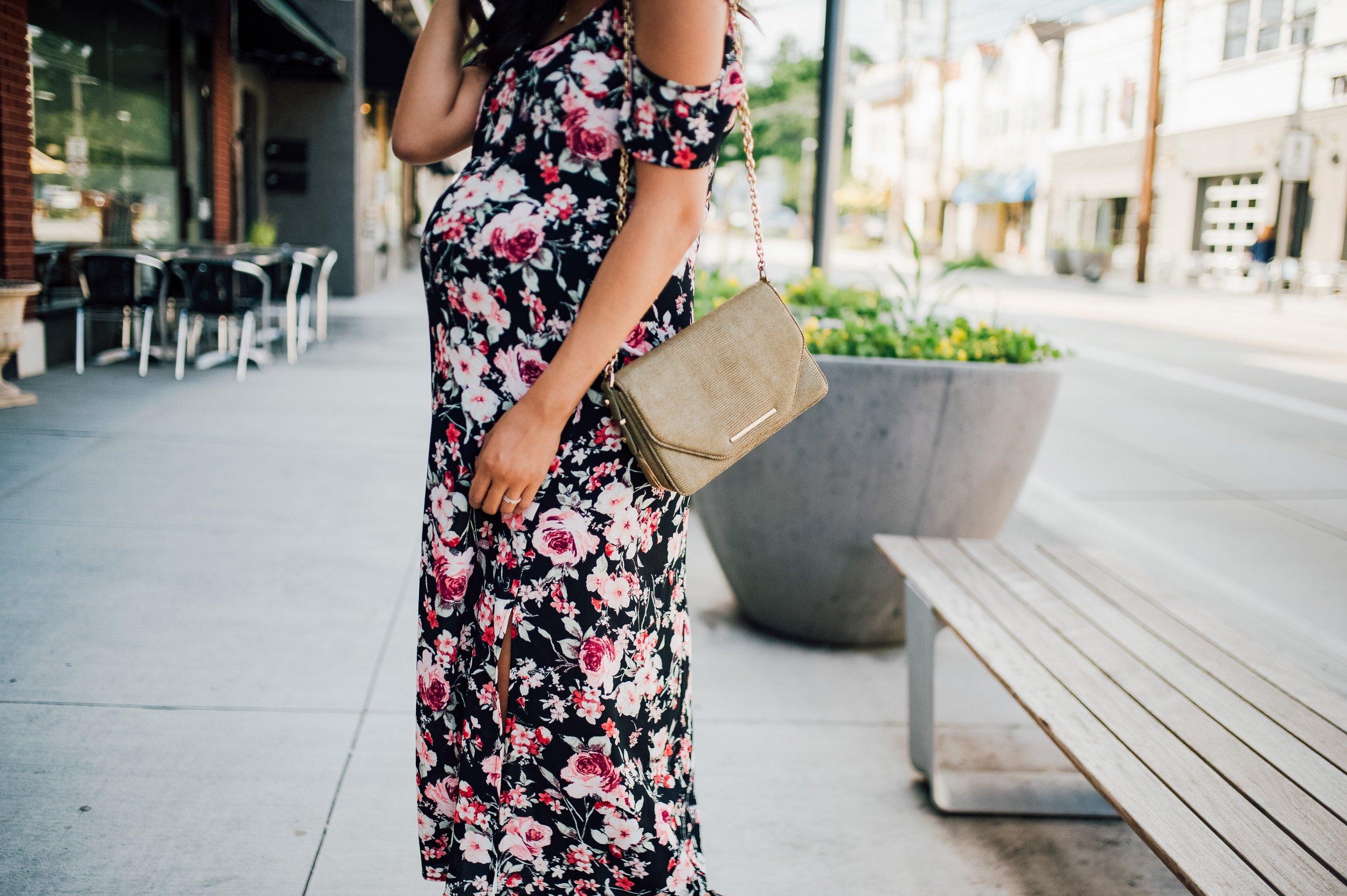 Floral Cold Shoulder Dress + Maternity Style + Wedding 1.jpg