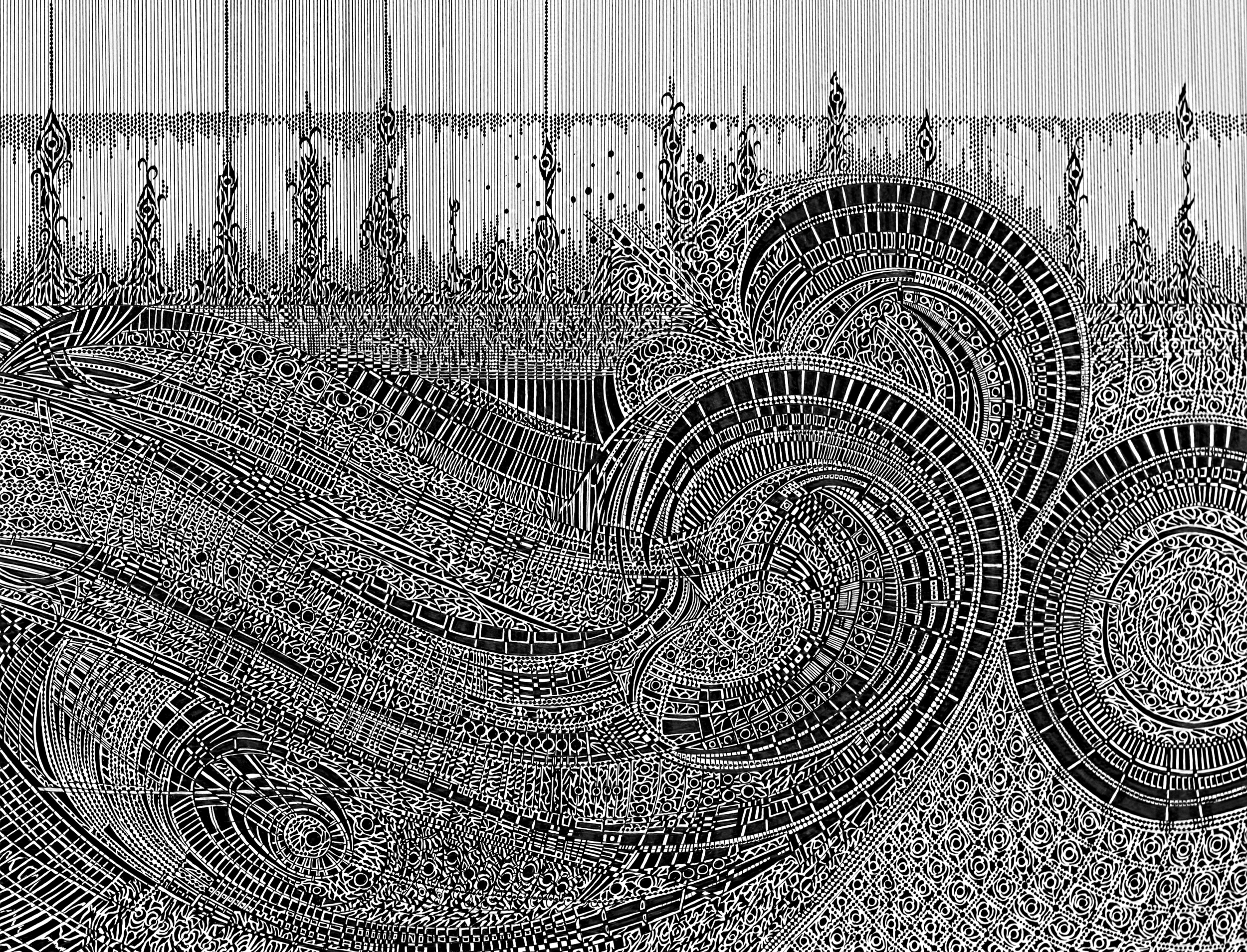Impressions De La Mer - Movement 2 Ink Drawing by Anthony Wigglesworth