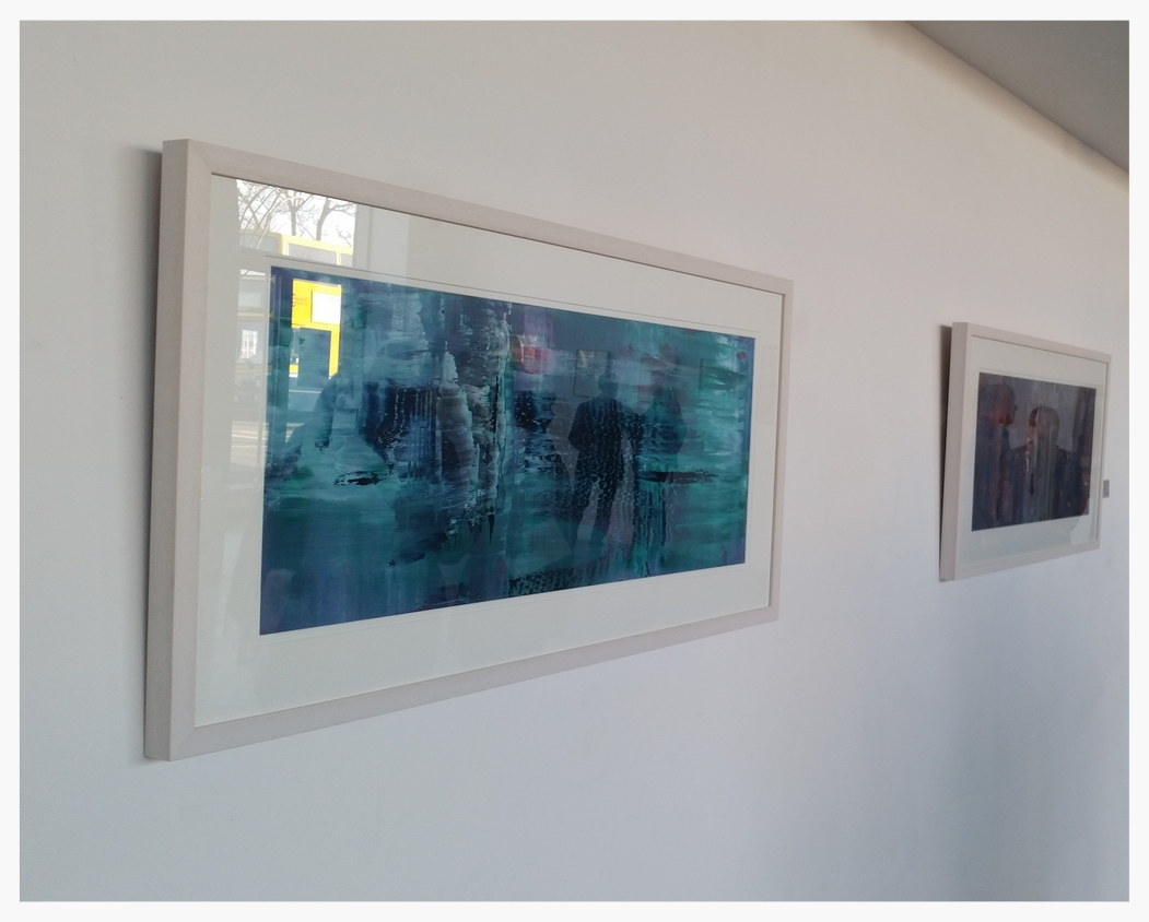 """Hiding Out""   (The work is framed in a white timber frame with a double white mount. Framed size: ( 116 cm x 56 cm)"