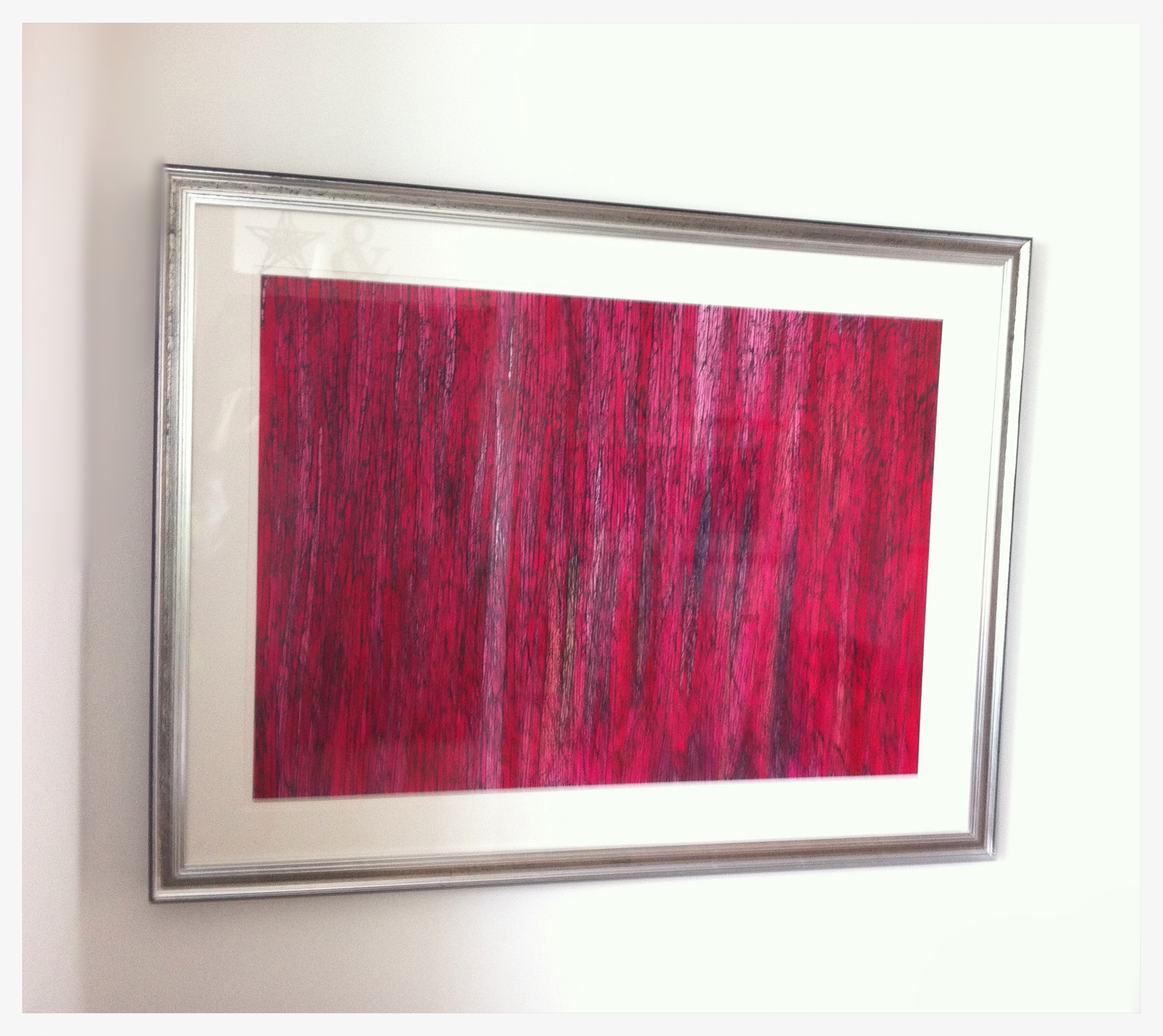 """A Flicker of Light Through a Forest of Red"" - Framed  125 cm x 96 cm"