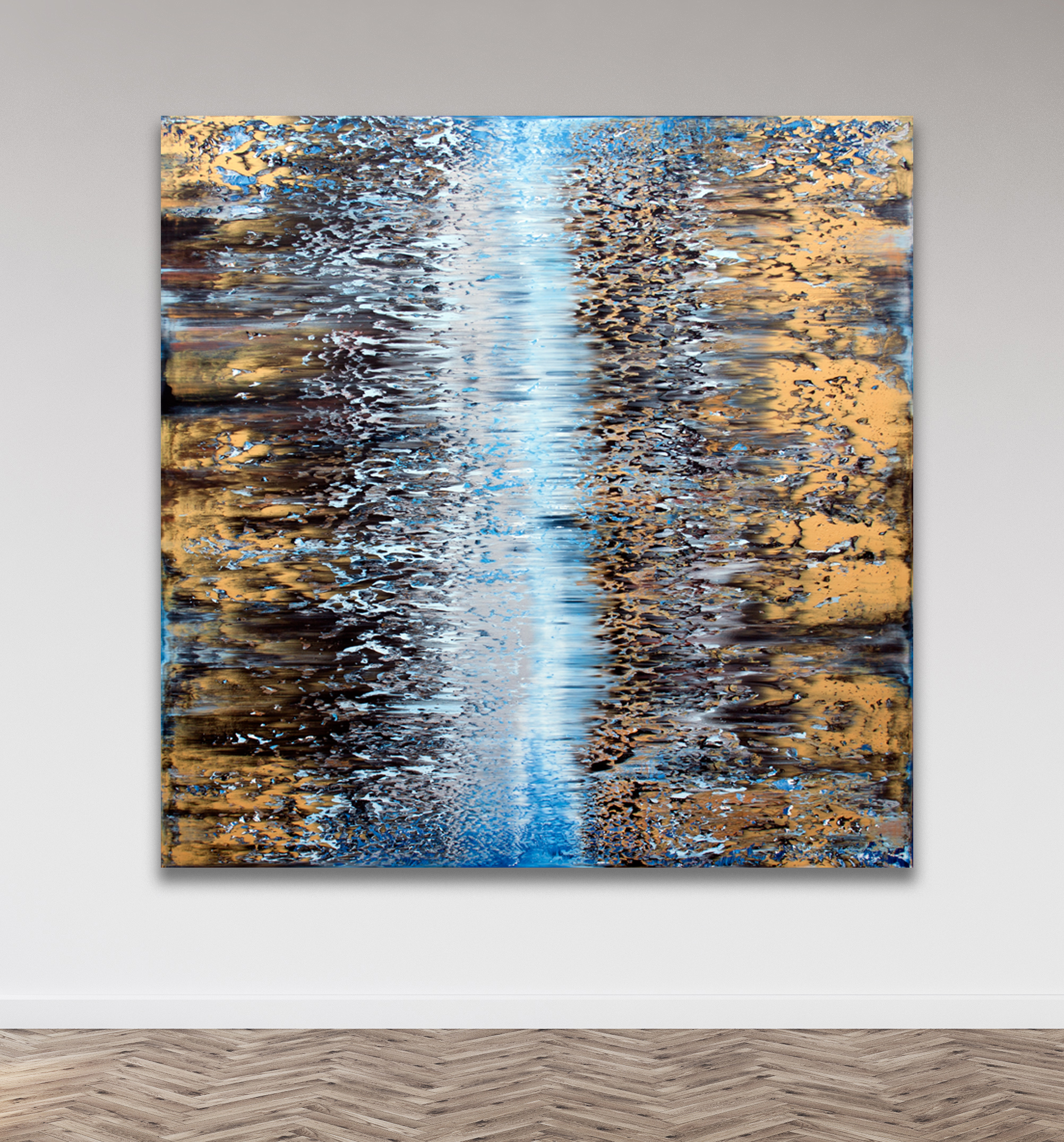 Goldrush  Oil on canvas 150cm x 150cm x 4.6cm © Anthony Wigglesworth - All Rights Reserved  Private collection