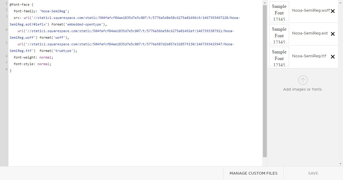 Adding custom fonts to Squarespace: Custom CSS