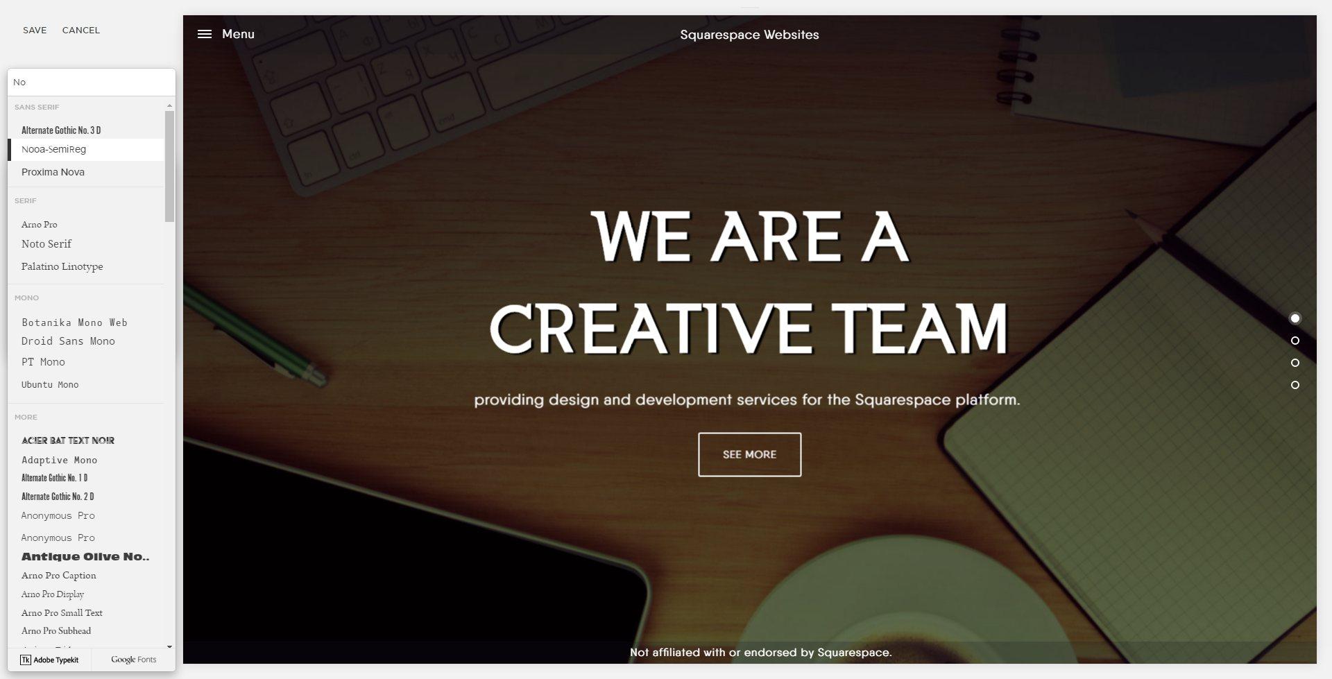 Adding custom fonts to Squarespace: Using custom font