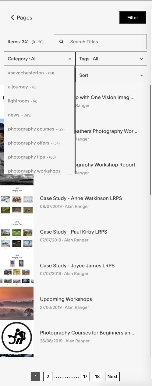 Filter in collections lists - easy way for fast navigating/editing
