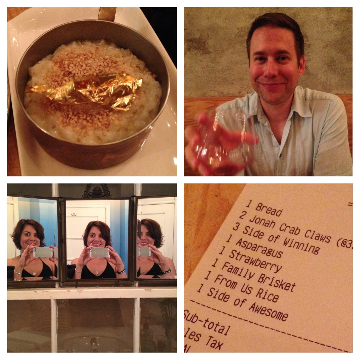 A bit of whimsy at Rose's Luxury: Gold-leaf in the rice, my excellent dinner date, the bathroom mirror, fun receipt