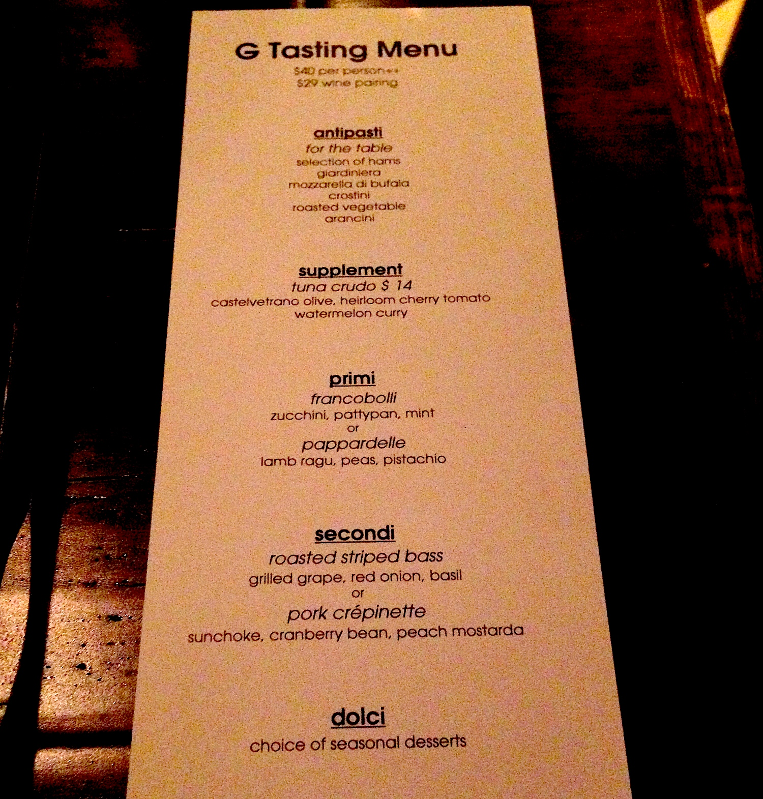 Menu for G by Mike Isabella