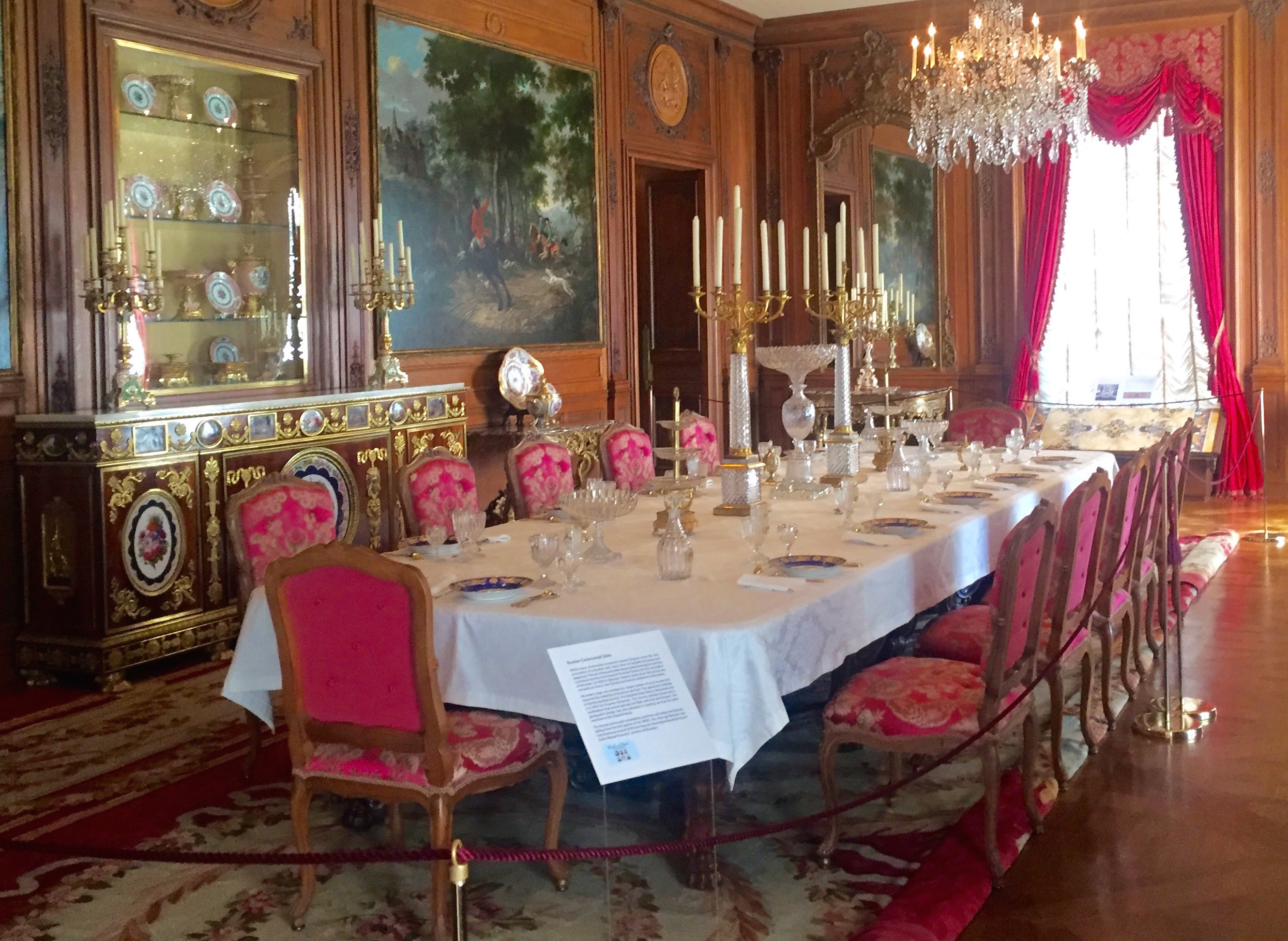 Post fed her lucky guests off Russian imperial porcelain plates. The dining room is currently set with the porcelain service created to honor the coronation of Tsar Nicholas I in 1826. I learned that last week.