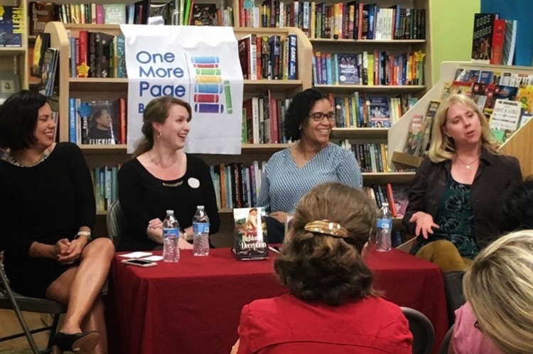 Moderating the first Romance Roundtable at One More Page Books with authors Lori Ann Bailey, Mia Sosa, and Sharon Wray. Photo credit:  One More Page Books .