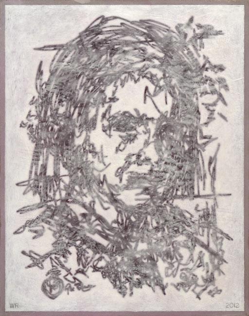 "Melancholy Methodist from Buda  Ink, watercolor and encaustic medium on board, 19-3/8"" x 15-3/16"", 2012"