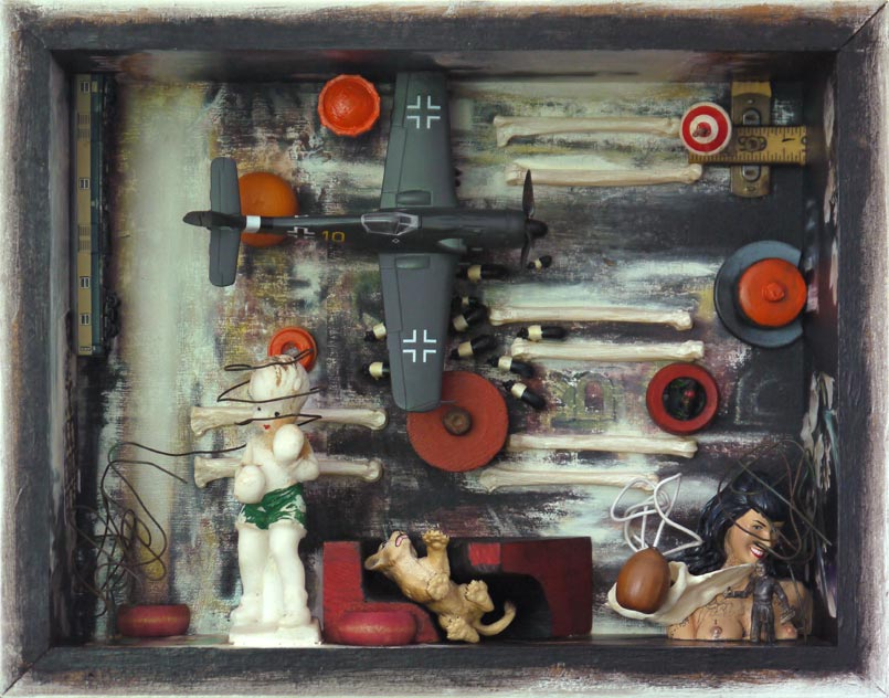 """Night Gangsters   Mixed media and found objects, 10-1/4"""" x 13"""" x 3-5/8"""", 2011"""