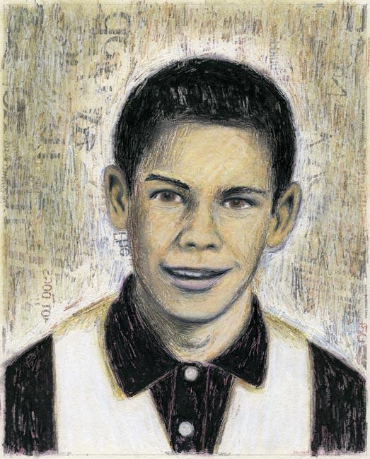 "Junior High Series: Edward E   Ink transfer, mixed media on board, 10"" x 8"", 2000"