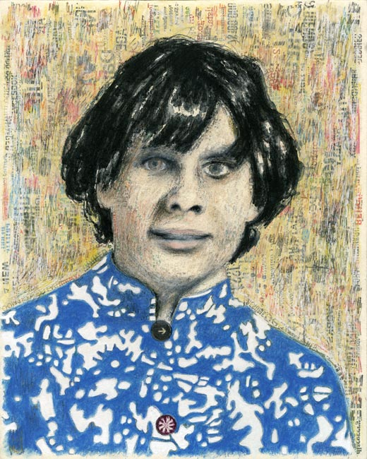 """Junior High Series: Cathy A   Ink transfer, mixed media on board, 10"""" x 8"""", 2012"""