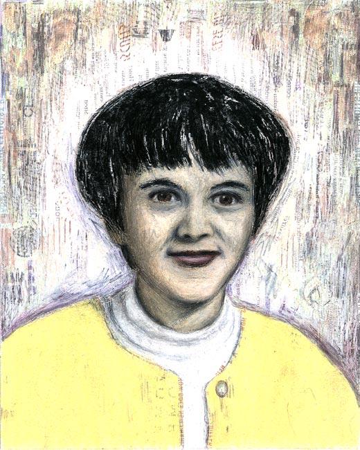 "Junior High Series: Marlene S   Ink transfer, mixed media on board, 10"" x 8"", 2000"