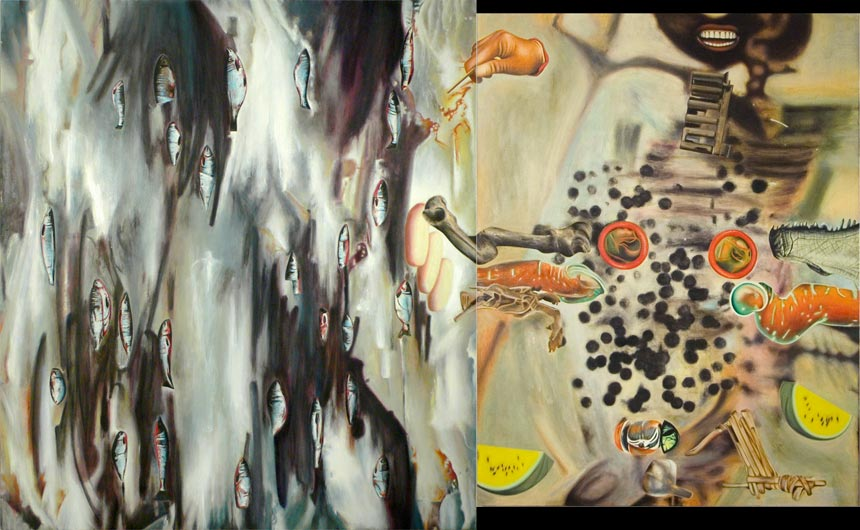 "The Only Part with Flames   Oil on canvas, 56"" x 90-1/4"", 2009"