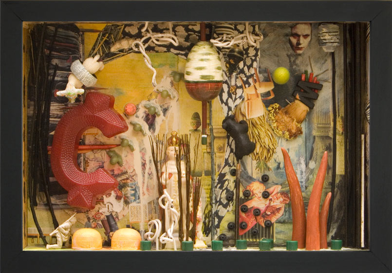 """Coveted Like a Religious Relic   Mixed media and found objects, 10-1/4"""" x 14-3/4"""" x 3"""", 2010"""