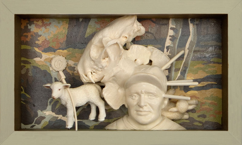 """The Baptism of Walter Johnson   Mixed media and found objects, 5-1/8"""" x 8-5/8"""" x 2-1/2"""", 2011"""