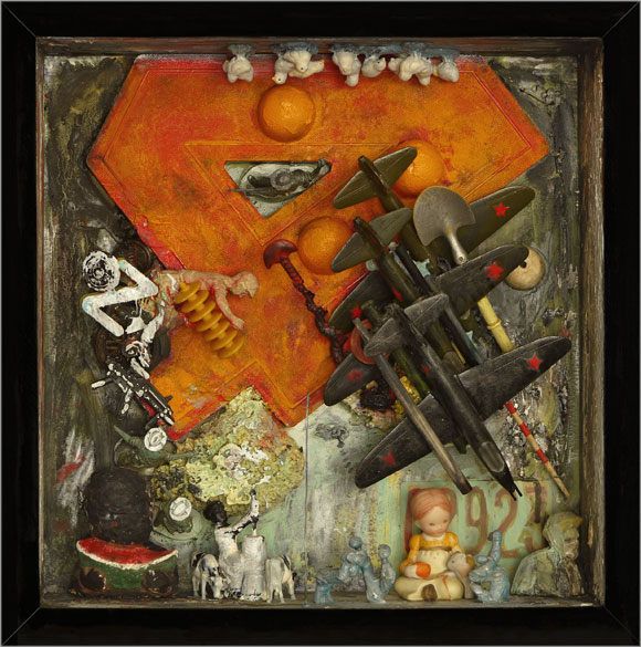 """4-02923   Mixed media and found objects, 12-3/4"""" x 12-11/16"""" x 4-1/4"""", 2013"""