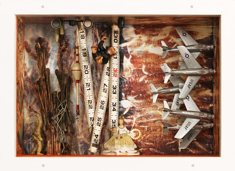 """Withering Heights   Mixed media and found objects, 9-1/8"""" x 12-5/8"""" x 4-1/16"""", 2011"""