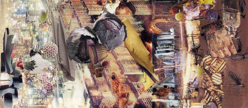 """A Bit Less Dark   Collage, 6-11/16"""" x 15-3/16"""", 2014"""