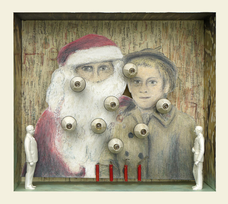 """Santa and Little Girl   Ink transfer drawing, mixed media and found objects, 8"""" x 8-7/8"""" x 3"""", 2014"""