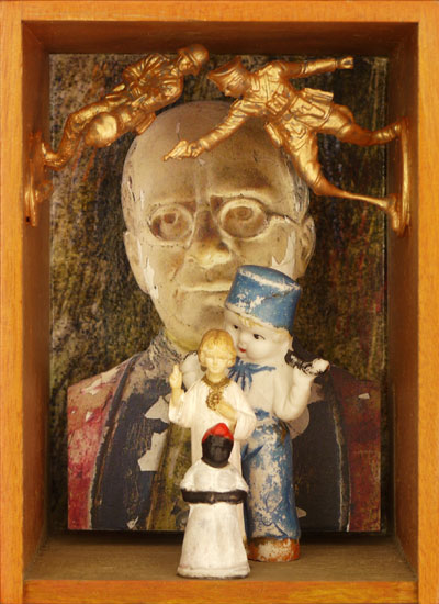 "Pope Cigar Box    Giclee prints, mixed media and found objects   6-1/8"" x 4-3/8"" x 4-3/16"", 2013"