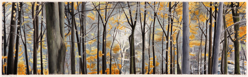 "Southbury Trees No. 14   Watercolor and gouache on board, 8-1/4"" x 27"", 2015"