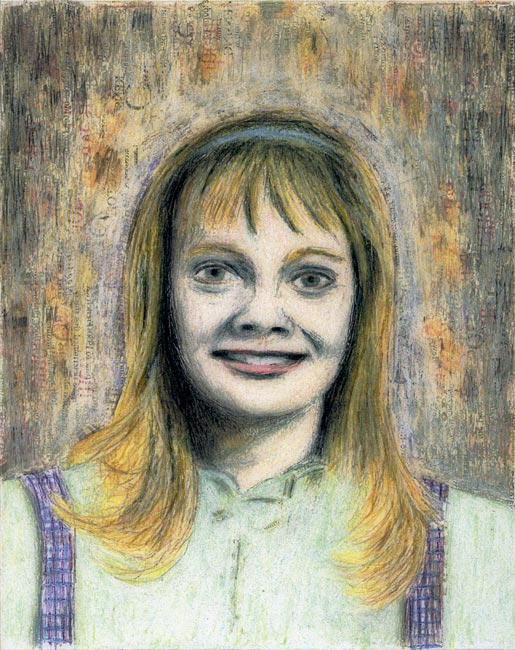 """Junior High Series: Diana W   Ink transfer, mixed media on board, 10"""" x 8"""", 2000"""