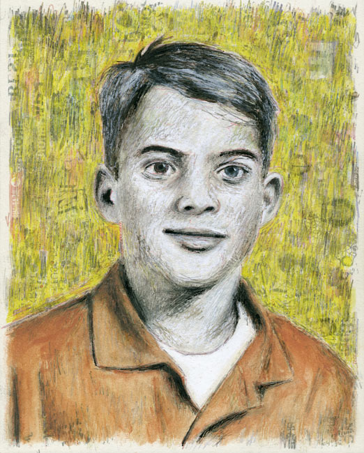 "Junior High Series: Rick M   Ink transfer, mixed media on board, 10"" x 8"", 2015"