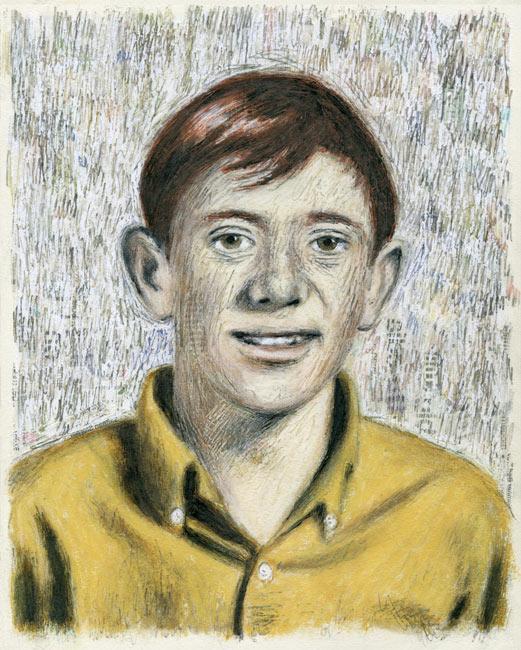 """Junior High Series: Bill S   Ink transfer, mixed media on board, 10"""" x 8"""", 2015"""
