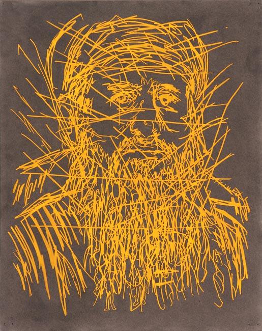 "Najmuddin Faraj Ahmad   Watercolor, gouache and ink on board, 20"" x 16"", 2015"