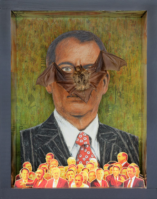 """The Fall of John Boehner by the House Freedom Caucus Insurgency  Ink transfer drawing, collage, bat, and color copy cut-outs in wooden box, 13-7/8"""" x 10-7/8"""" x 5-1/2"""", 2016"""